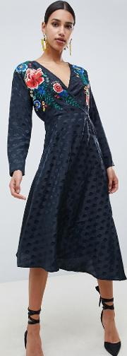 Jacquard Wrap Midi Dress With Long Sleeves And Embroidery