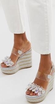 Jayna Clear Embellished Espadrille Wedges
