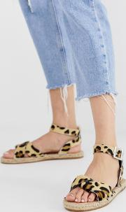 Jenkins Leather Leopard Espadrilles