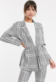 Jersey Check Wrap Belted Suit Blazer