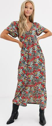 Jersey Crepe Maxi Tea Dress With Self Covered Buttons