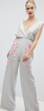 Jumpsuit With Wide Leg And Embroidery
