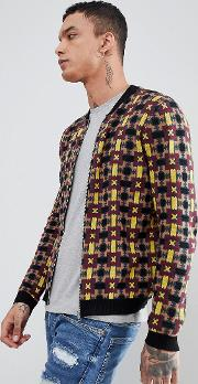 Knitted Bomber Jacket With Geometric Design