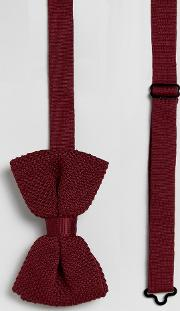 knitted bow wedding tie  burgundy