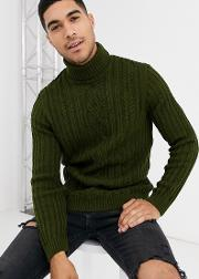 Knitted Cable Roll Neck Jumper