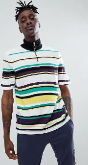 design knitted half zip  shirt with vertical stripes