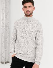 Knitted Roll Neck Jumper With Basket Texture