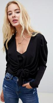 Knot Front Blouse With Ruched Sleeve Detail