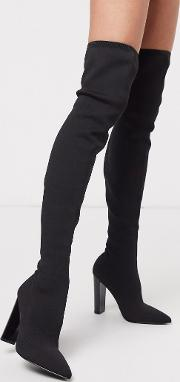 Kudos Knitted Block Heel Thigh Boots