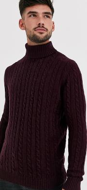 Lambswool Cable Knit Roll Neck Jumper