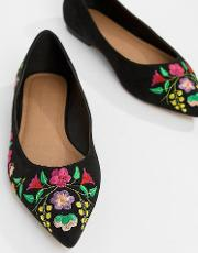 Lantana Wide Fit Embroidered Pointed Ballet Flats