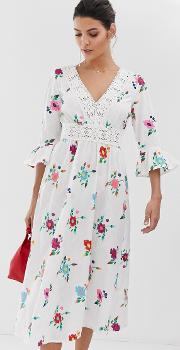 Lattice Back Embroidered Midi Dress With Fluted Sleeve