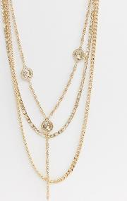 Layered Chain Necklace Pack With Coins Tone