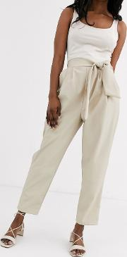 Leather Look Trouser With Twist Waist Detail