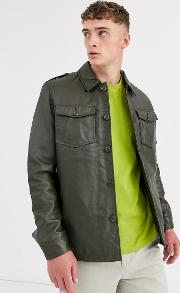 Leather Quilted Overshirt