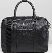 leather satchel in black with emboss