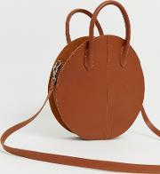 Leather Structured Circle Shopper Bag