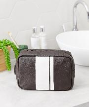 Leather Wash Bag With Stripe Detail