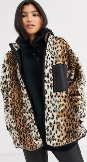 Leopard Fleece Jacket With Binding Detail