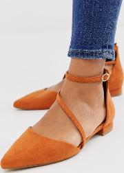 Lifetime Pointed Ballet Flats Rust