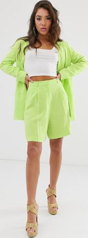 Linen Suit Mom Shorts Lime Pop