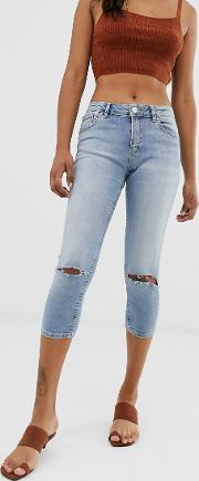 Lisbon Mid Rise Cropped Skinny Jeans Stone Wash With Ripped Knees