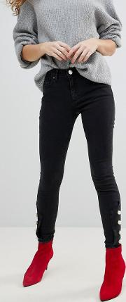 Lisbon Skinny Mid Rise Jeans Washed With Pearl Hem