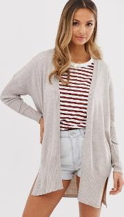 Long Line Fine Knit Cardi Recycled Blend