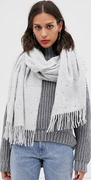 Long Neppy Woven Scarf With Tassels