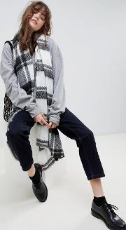 long oversized brushed check scarf in mono