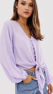 Long Sleeve Button Front Top With Tie Detail