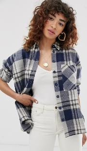 Long Sleeve Heavy Brushed Check Shirt With Pocket Detail