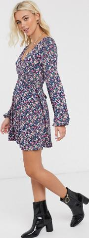 Long Sleeve Mini Dress With Shirred Waist Ditsy Print
