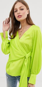 Long Sleeve Neck Top With Drape Front And Cuffs