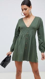 Long Sleeve Smock Dress With Buttons And Waist Panel