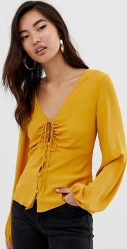 Long Sleeve Tea Blouse With Ruched Detail
