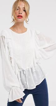 Long Sleeve Top With Ruffle Detail And Embroidery