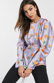 Long Sleeve Top With Shirred Detail
