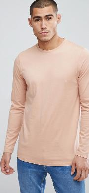 longline crew neck t shirt with  sleeves
