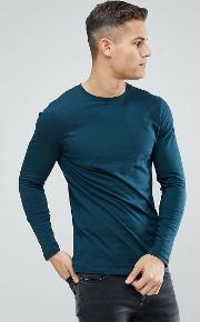 longline crew neck t shirt with  sleeves  green