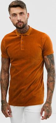 Longline Polo Shirt Ribbed Velour Rust