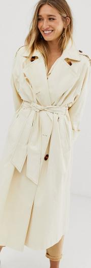 Longline Trench Coat With Statement Buttons