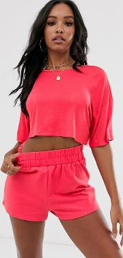 Lounge Mix And Match Drop Shoulder Crop Tee