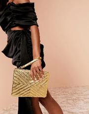 Luxe Quilted Zip Top Clutch Bag