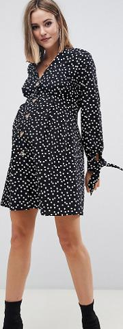 Maternity Button Through Mini Skater Dress With Tie Sleeves Spot