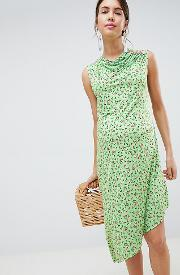 Maternity Ditsy Print Midi Dress With Button Detail