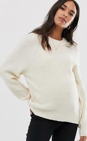 Maternity Fluffy Jumper With Balloon Sleeve
