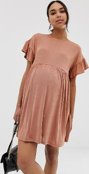 56c5d7f865 Maternity Metallic Frill Sleeve Smock Dress. asos design