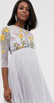 Maternity Mini Dress With Pleat Skirt And Lace Inserts Floral Embroidery