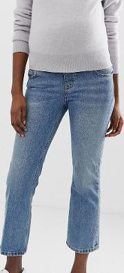 Maternity Recycled Egerton Rigid Cropped Flare Jeans